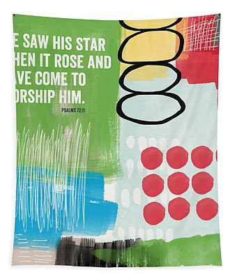 His Star Rose- Contemporary Christian Art By Linda Woods Tapestry