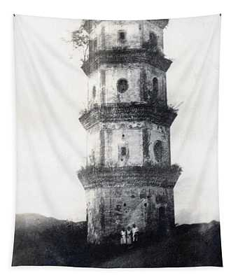 Historic Asian Tower Building Tapestry