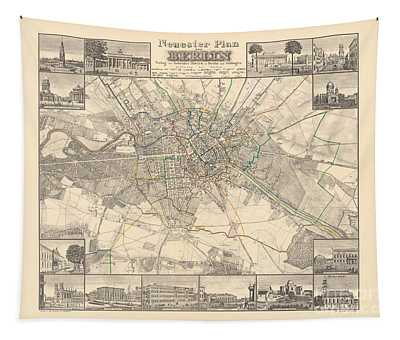 Historical Map Of Berlin, 1838 Tapestry