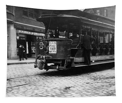 Hitching A Ride On The Trolley - Boston - 1909 Tapestry