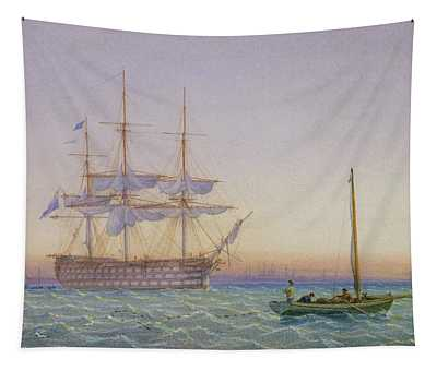 Hm Frigates At Anchor Tapestry
