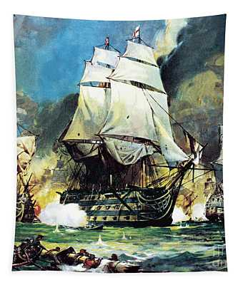 Hms Victory At The Battle Of Trafalgar Tapestry