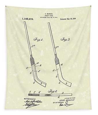 Hockey Stick Mcniece 1916 Patent Art Tapestry
