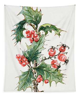 Holly And Rosehips Tapestry