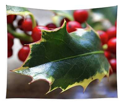 Holly Berries- Photograph By Linda Woods Tapestry