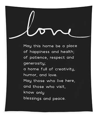 Home Blessing Black And White- Art By Linda Woods Tapestry