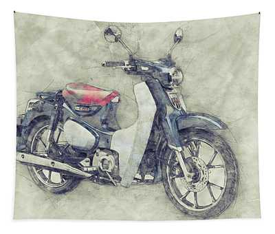 Honda Super Cub 1 - Motor Scooters - 1958 - Motorcycle Poster - Automotive Art Tapestry