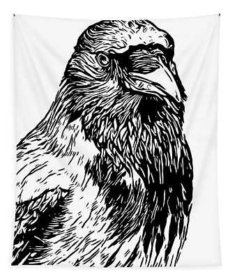 Hooded Crow Line Art Woodcut Type Illustration Tapestry