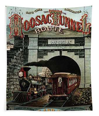 Hoosac Tunnel Route - Vintage Steam Locomotive - Advertising Poster Tapestry