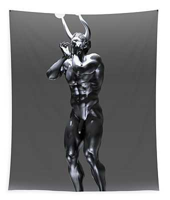 Horned Faun With Lights Tapestry