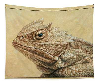 Tapestry featuring the painting Horned Toad by James W Johnson