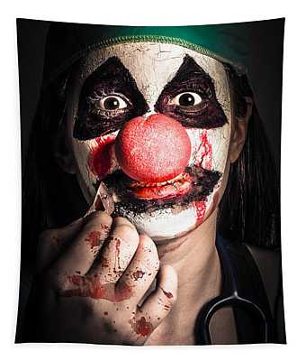Horror Clown Girl In Silence With Stitched Lips Tapestry