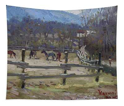 Horse Farm In Limana Tapestry