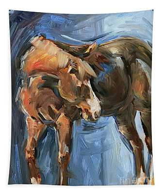 Horse Study In Oil  Tapestry