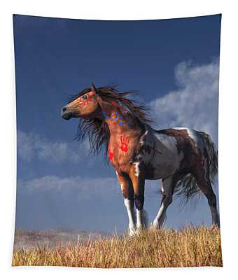 Horse With War Paint Tapestry