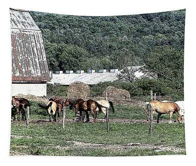 Horses And Barn In Amish Country Chautauqua County New York With Ink Sketch Effect Tapestry