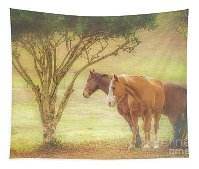 Horses In The Meadow Tapestry