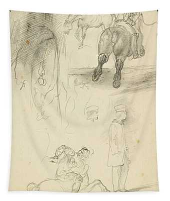 Horses Riders And A Young Man Tapestry