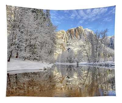 Horsetail Fall Reflections Winter Yosemite National Park Tapestry
