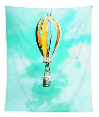 Hot Air Balloon Pendant Over Cloudy Background Tapestry