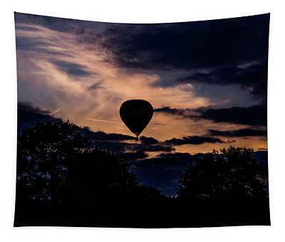 Hot Air Balloon Silhouette At Dusk Tapestry