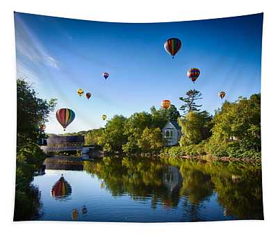 Hot Air Balloons In Quechee 2015 Tapestry