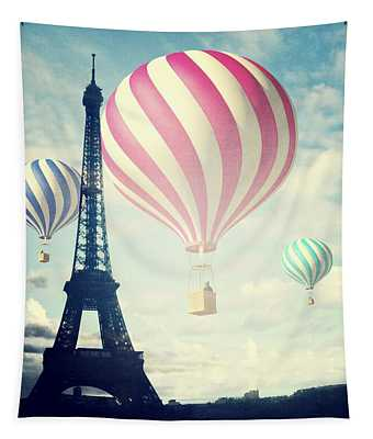 Hot Air Balloons In Paris Tapestry