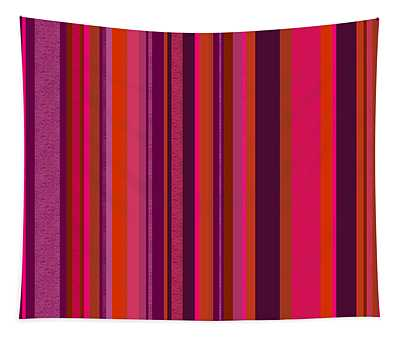 Hot Pink And Orange Stripes - Two Tapestry