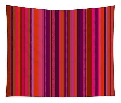 Hot Pink And Orange Stripes Tapestry