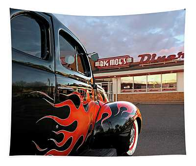 Hot Rod At The Diner At Sunset Tapestry