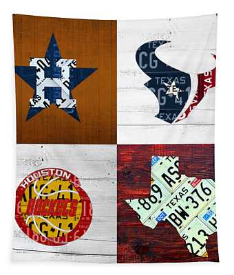 Houston Sports Fan Recycled Vintage Texas License Plate Art Astros Texans Rockets And State Map Tapestry
