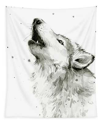 Howling Wolf Watercolor Tapestry