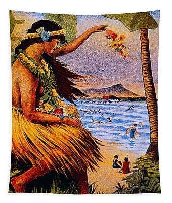 Hula Flower Girl 1915 Tapestry