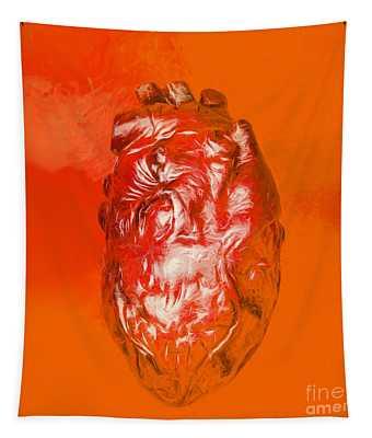 Human Heart In Digital Art Tapestry