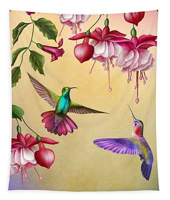 Humming Birds And Fuchsia-jp2784 Tapestry