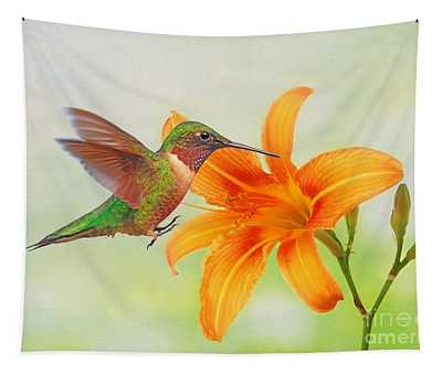 Hummingbird And Day Lily Tapestry