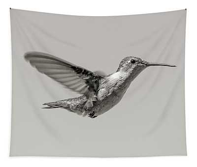 Hummingbird In Black And White Tapestry