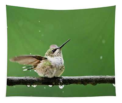 Hummingbird In The Rain Tapestry