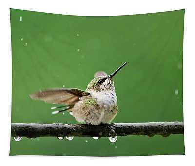 Hummingbird In The Rain Tapestry