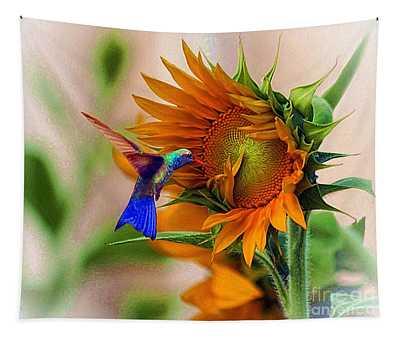 Hummingbird On Sunflower Tapestry