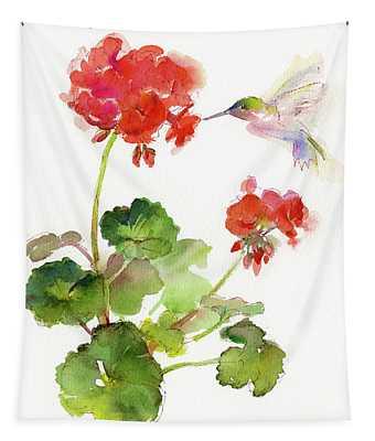 Hummingbird With Geranium Tapestry