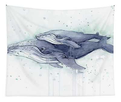Humpback Whales Painting Watercolor - Grayish Version Tapestry