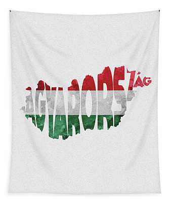 Hungary Typographic Map Flag Tapestry