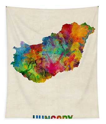 Hungary Watercolor Map Tapestry