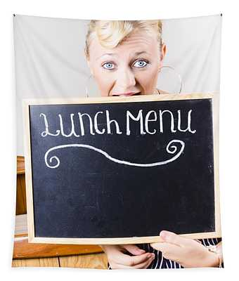 Hungry Woman Eating A Cafe Lunch Menu Tapestry