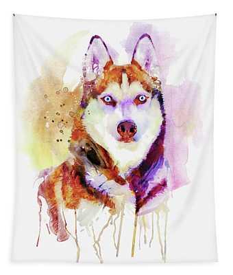 Husky Dog Watercolor Portrait Tapestry