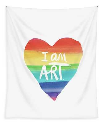 I Am Art Rainbow Heart- Art By Linda Woods Tapestry