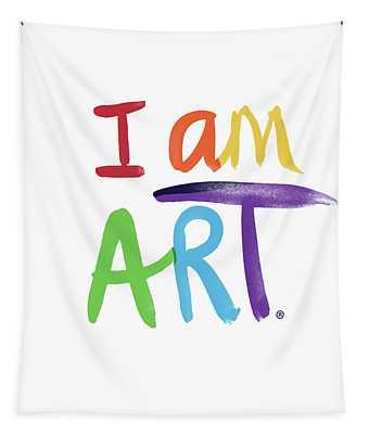 I Am Art Rainbow Script- Art By Linda Woods Tapestry