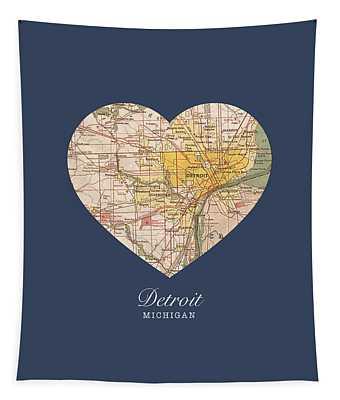 I Heart Detroit Michigan Vintage City Street Map Americana Series No 001 Tapestry