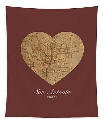 I Heart San Antonio Texas Vintage City Street Map Love Americana Series No 029 Tapestry